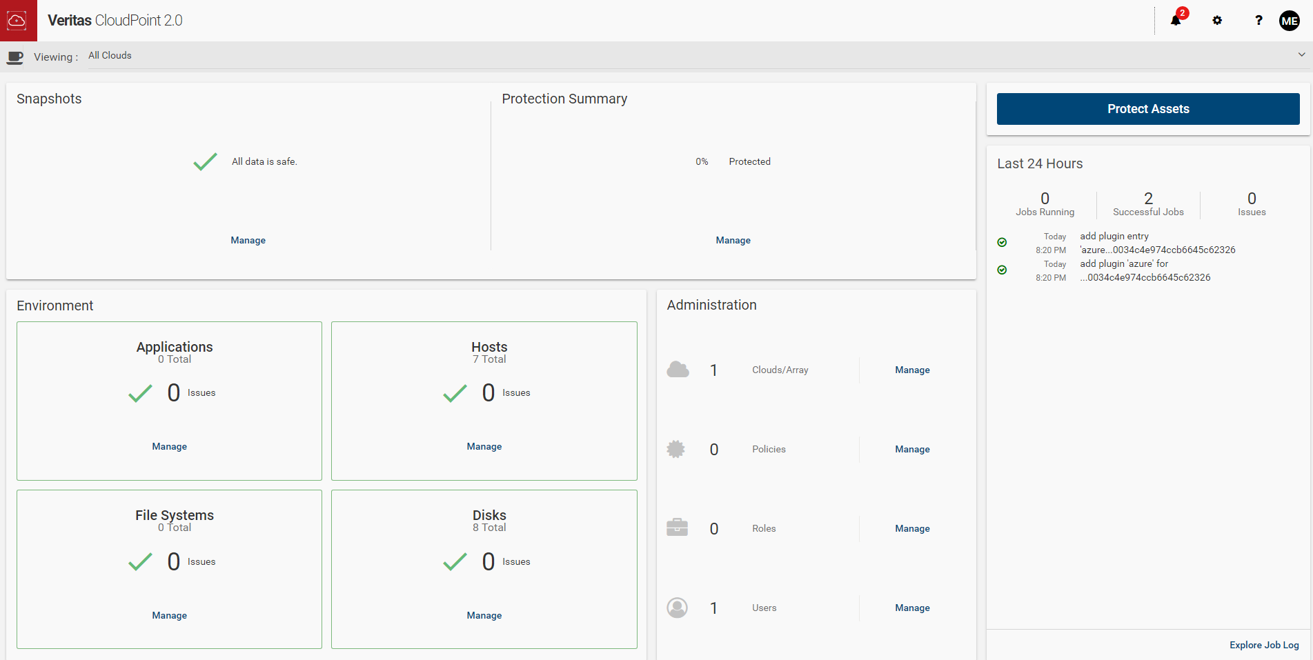 Machine generated alternative text: Veritas CloudPoint 2.0