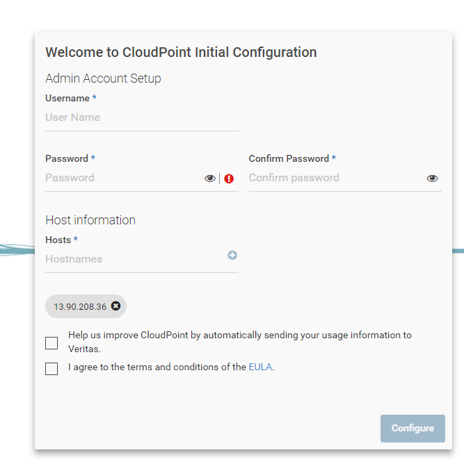 Machine generated alternative text: Welcome to CloudPoint Initial Configuration